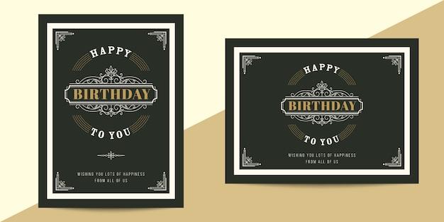 Tarjeta de cumpleaños de lujo vintage horizontal y vertical para marco