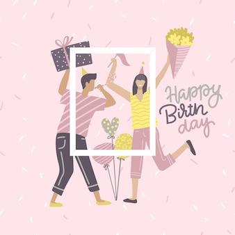 Tarjeta de cumpleaños con mujer y hombre con regalo y ramo de flores con texto citar feliz cumpleaños