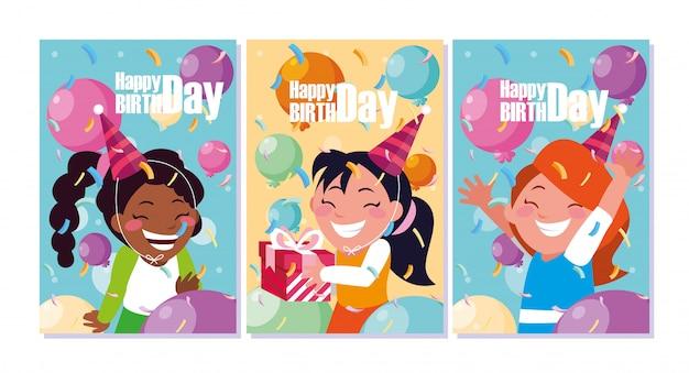 Tarjeta de cumpleaños con niñas celebrando