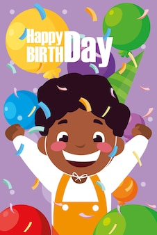 Tarjeta de cumpleaños con niño negro celebrando