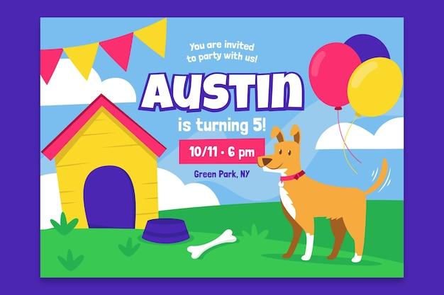 Tarjeta de cumpleaños para niños con cachorro