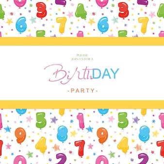 Tarjeta de cumpleaños para niños. incluye patrón sin costuras con números de globos brillantes.