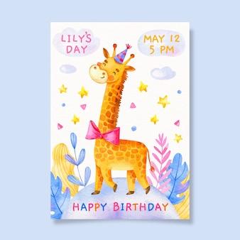 Tarjeta de cumpleaños para niños con jirafa
