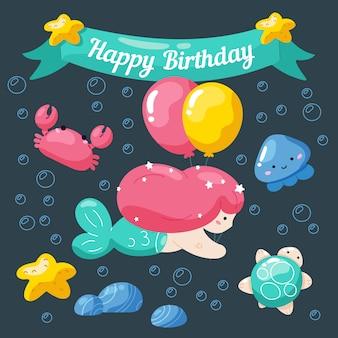 Tarjeta de cumpleaños para niños con linda sirenita y vida marina.