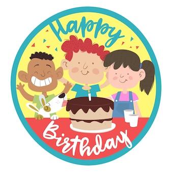 Tarjeta de cumpleaños con niños, tarta y perro.