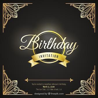 Tarjeta de cumpleaños con ornamentos de lujo
