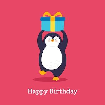 Tarjeta de cumpleaños pingüino con globo plano
