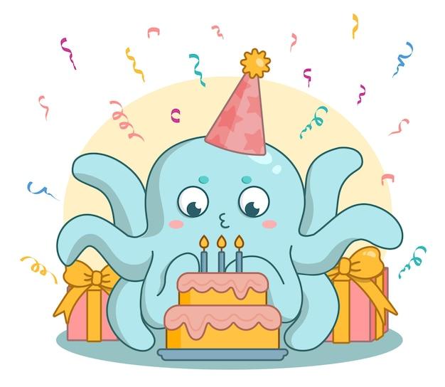 Tarjeta de cumpleaños con pulpo de dibujos animados lindo y pastel. personaje sopla las velas