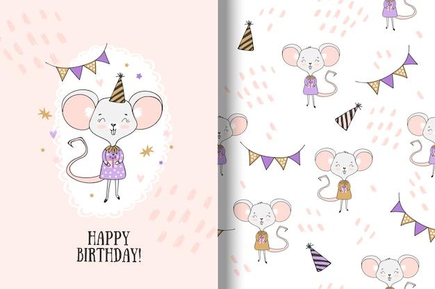 Tarjeta de cumpleaños del ratón de dibujos animados y patrones sin fisuras
