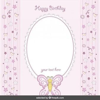 Tarjeta de cumpleaños rosada linda