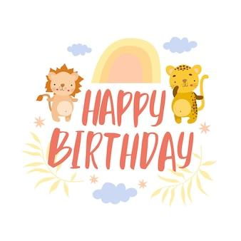 Tarjeta de cumpleaños safari