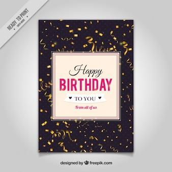 Tarjeta de cumpleaños de serpentinas realistas