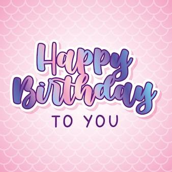 Tarjeta de cumpleaños de sirena sobre fondo de textura de escamas de sirena. ilustración vectorial