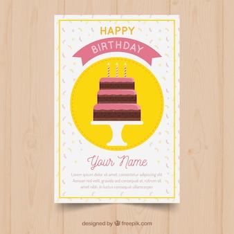 Tarjeta de cumpleaños con tarta y velas