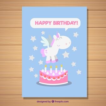 Tarjeta de cumpleaños con un unicornio y estrellas