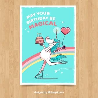 Tarjeta de cumpleaños con unicornio patinando