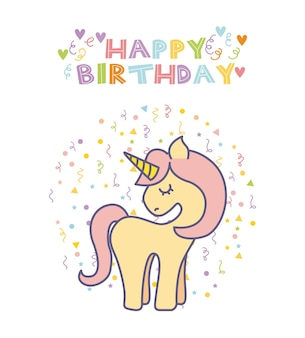 Tarjeta de cumpleaños de unicornio