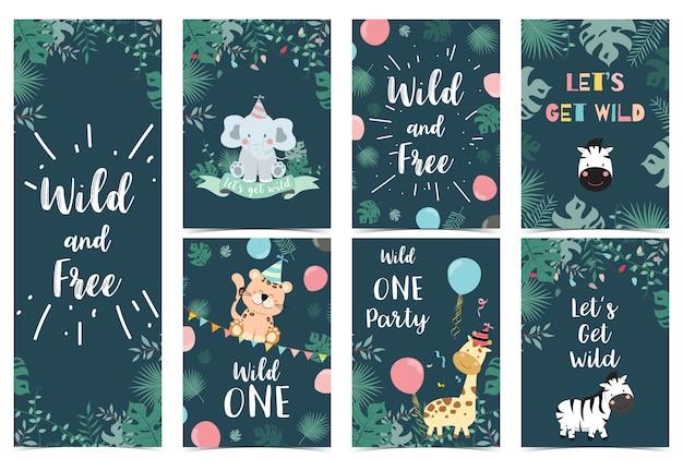 Tarjeta de cumpleaños verde safari