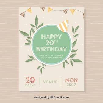 Tarjeta de cumpleaños vintage con hojas