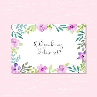 Tarjeta de dama de honor con marco floral verde púrpura