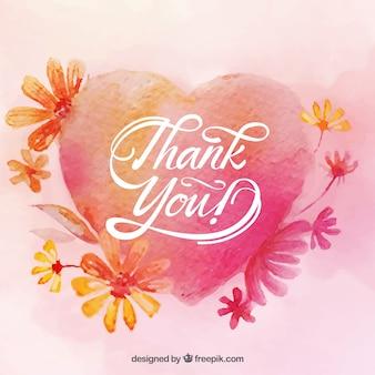 Tarjeta de agradecimiento con diseño de corazón