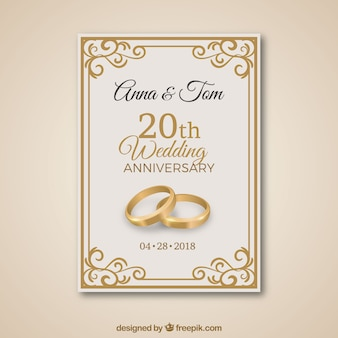 Tarjeta de aniversario de boda con ornamentos dorados