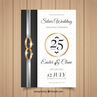 Tarjeta de aniversario de boda en estilo realista