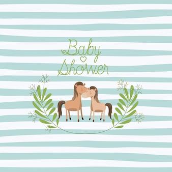 Tarjeta de baby shower con linda pareja de caballos