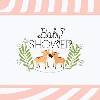 Tarjeta de baby shower con linda pareja de tigres