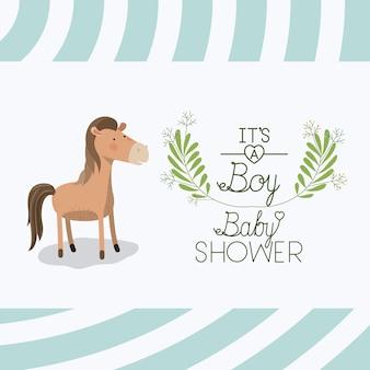 Tarjeta de baby shower con lindo caballo