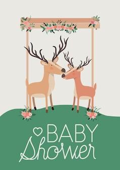 Tarjeta de baby shower con par de reno lindo