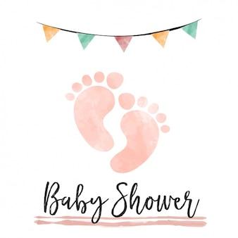Tarjeta de baby shower en acuarela con huellas de pisadas