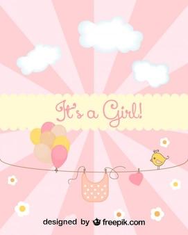 Tarjeta de baby shower para el nacimiento de una niña