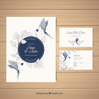 Tarjeta de boda elegante