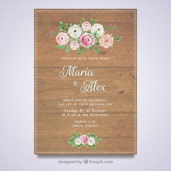 Tarjeta de boda floral con diseño de madera