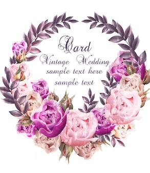 Tarjeta de boda vintage con corona de rosas