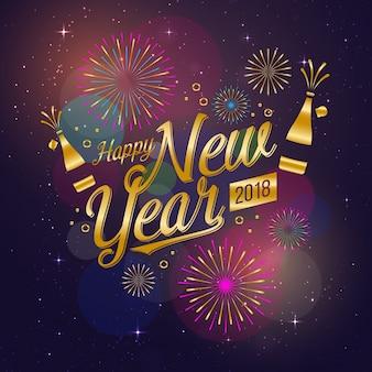Tarjeta de celebración moderna feliz año nuevo 2018