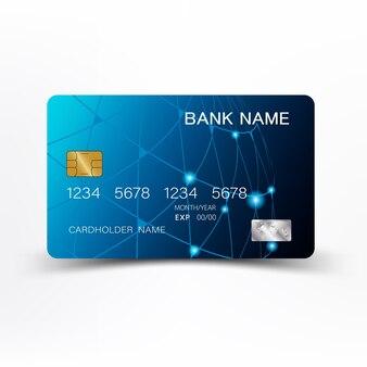 Tarjeta de crédito de color azul abstracto.