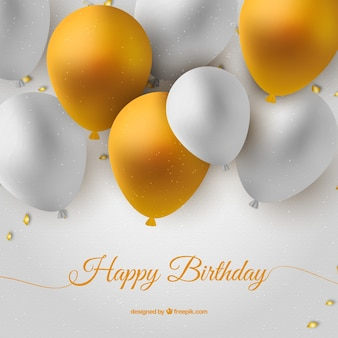 Tarjeta de cumpleaños con globos blancos y dorados