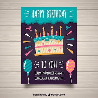 Tarjeta de cumpleaños con tarta en estilo plano