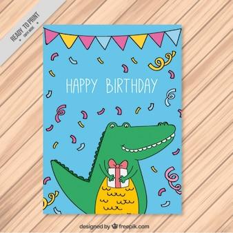 Tarjeta de cumpleaños con un cocodrilo sonriente