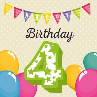 Tarjeta de cumpleaños con vela número cuatro