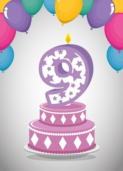 Tarjeta de cumpleaños con vela número nueve
