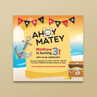 Tarjeta de cumpleaños de piratas