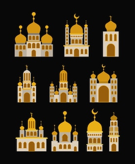 Tarjeta de eid mubarak con castillo conjunto
