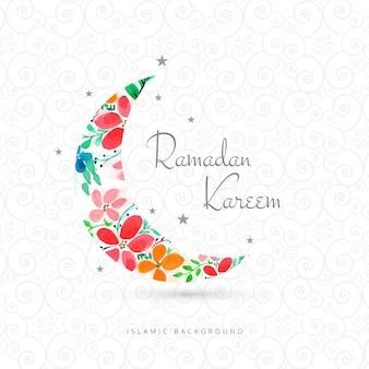 Tarjeta de felicitación de ramadan kareem con diseño de luna