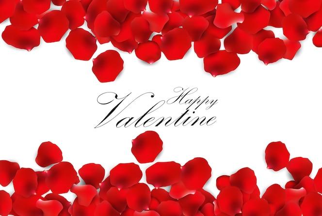 Tarjeta de felicitación de san valentín pétalos de rosa roja