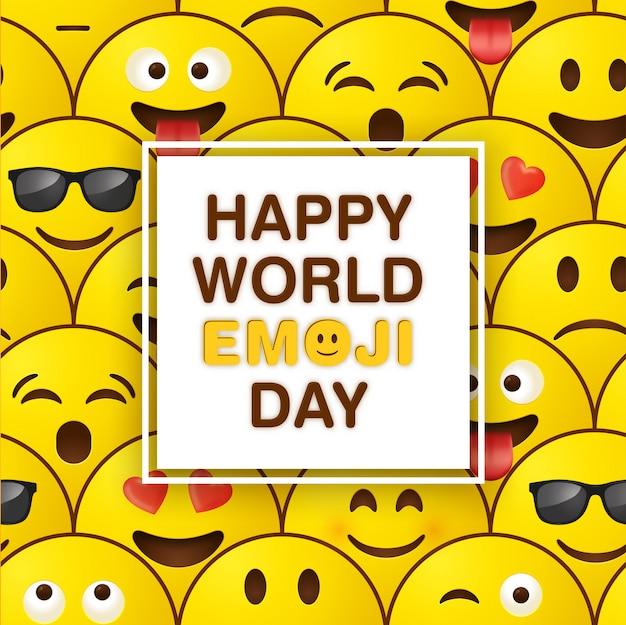 Tarjeta de felicitación del mundo emoji día