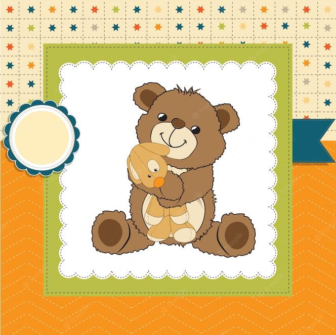 Tarjeta de felicitación infantil con oso de peluche y su juguete