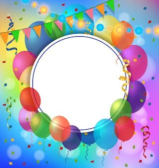 Tarjeta de felicitación, marco redondo y globos